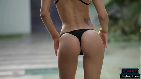 Perfect Argentinian model in a small bikini gets naked